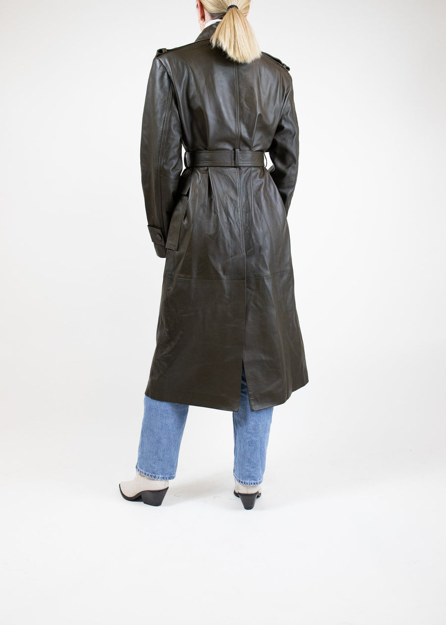 Rent REMAIN Birger Christensen Olive Green Leather Trench Coat from Rotaro