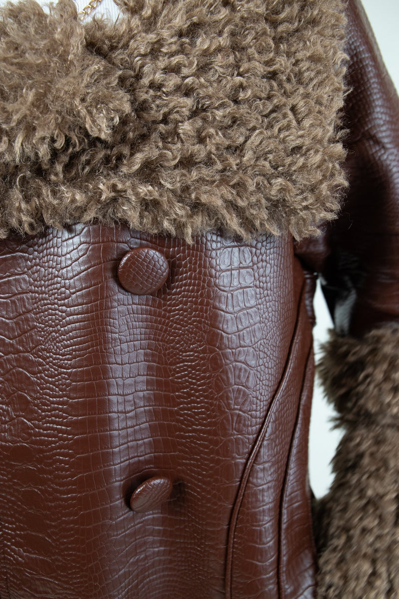 Rent House of Sunny Brown Vegan Leather and Fur Coat from Rotaro