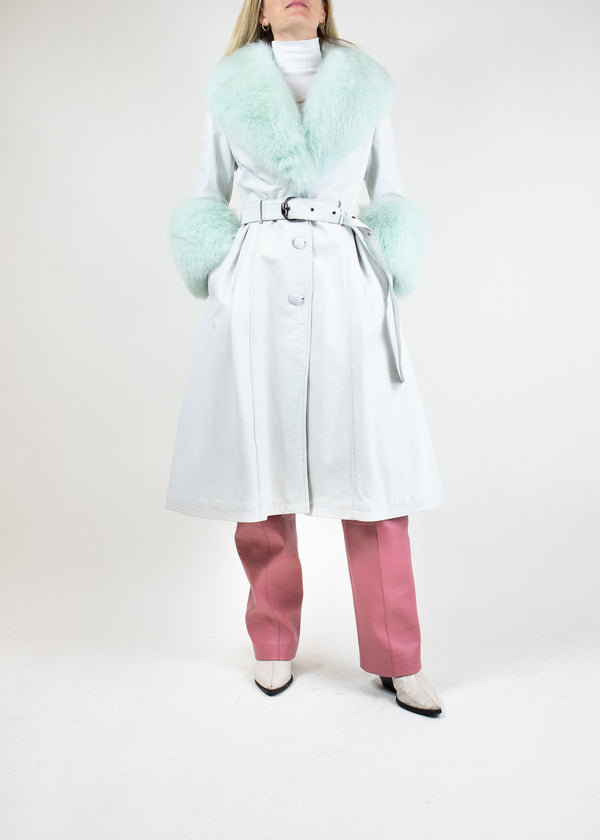 Rent Saks Potts Mint Leather And Fur Belted Coat from Rotaro
