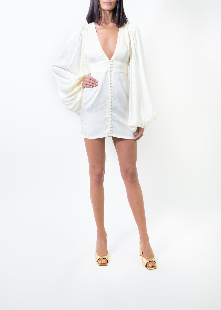 Rent Rat & Boa Balloon Sleeve Satin Jacquard Mini Dress from Rotaro
