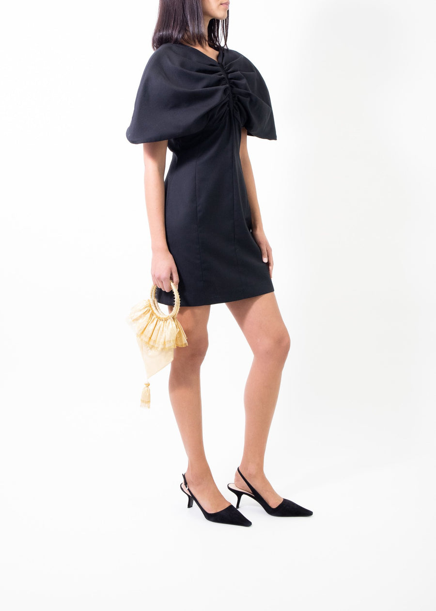 Rent Jacquemus Black Gathered Wool-Piqué Mini Dress from Rotaro