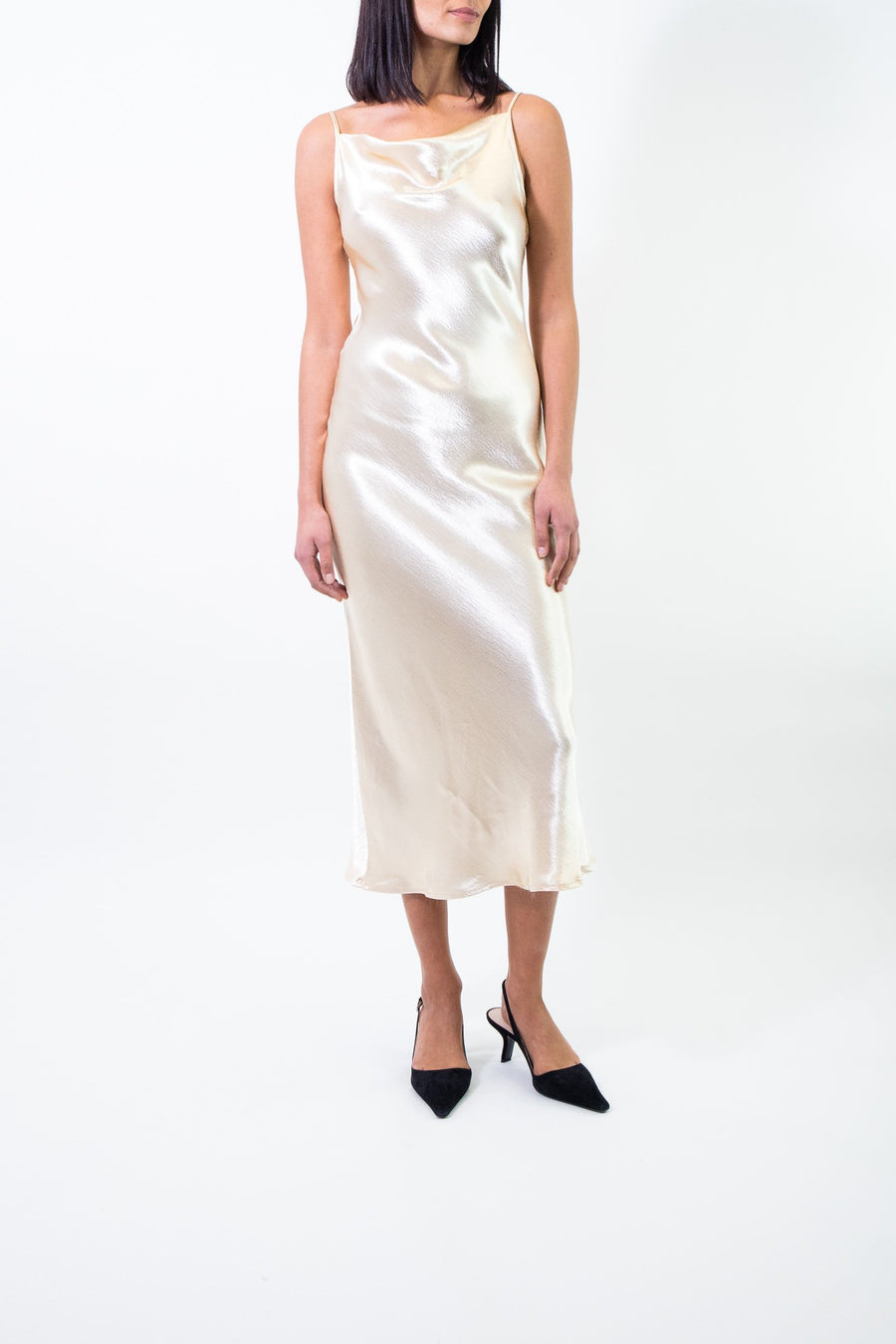 Rent Rat & Boa Lumina Metallic Slip Maxi Dress from Rotaro