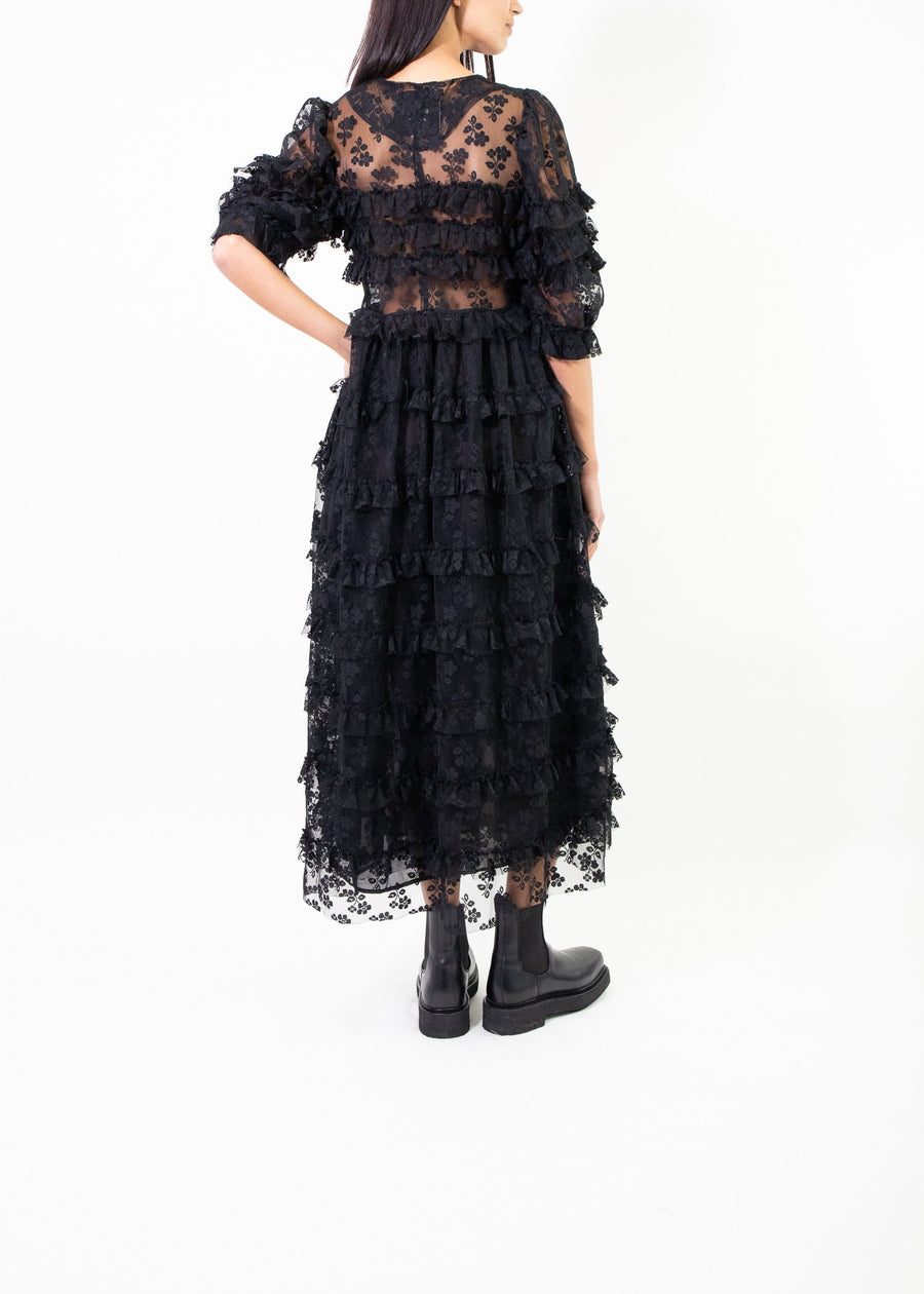 Rent Dream Sister Jane Black Lace Tiered Ruffle Midi Dress from Rotaro