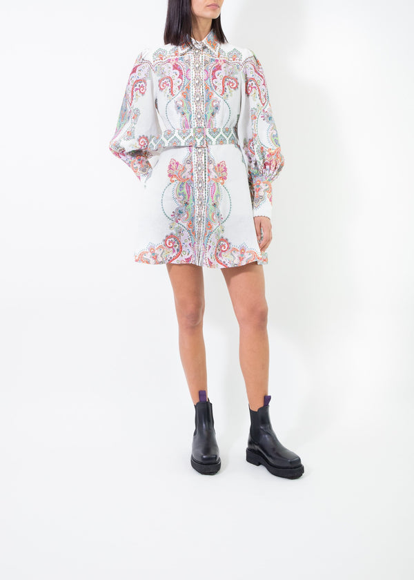 Rent Zimmermann Belted Linen Paisley Mini Dress from Rotaro