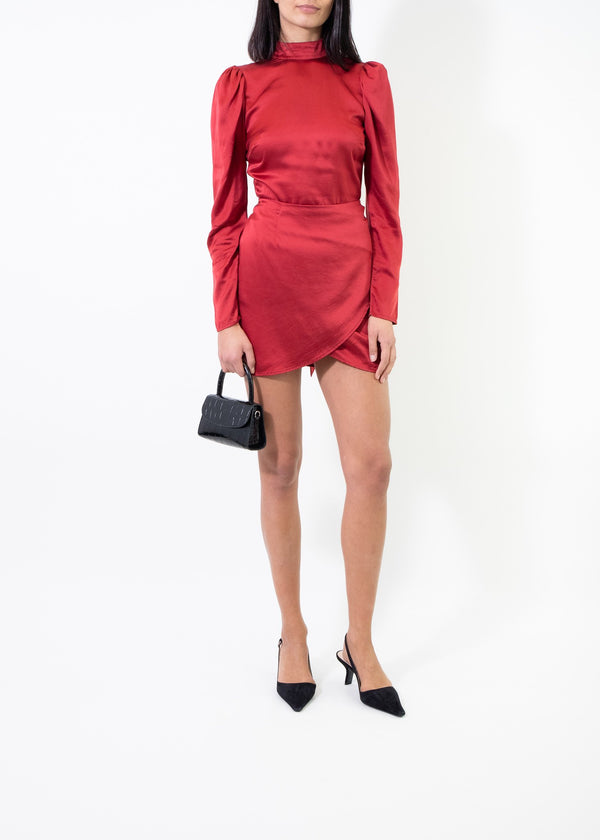 Rent Reformation Red Silk Wrap Mini Dress from Rotaro