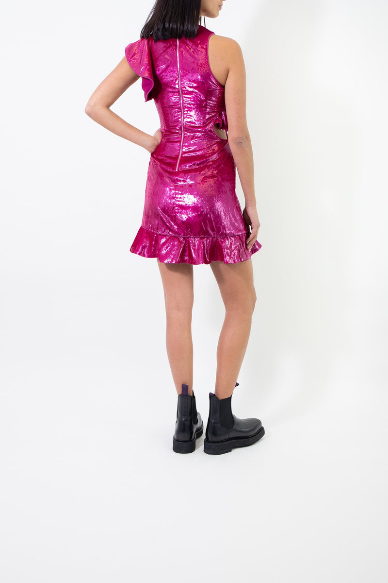 Rent Self Portrait Pink Cut Out Ruffle Mini Dress from Rotaro