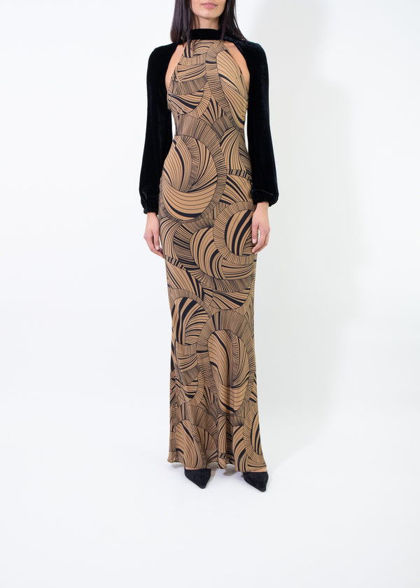 Rent De La Vali Psychedelic Backless Gown With Velvet Sleeves from Rotaro