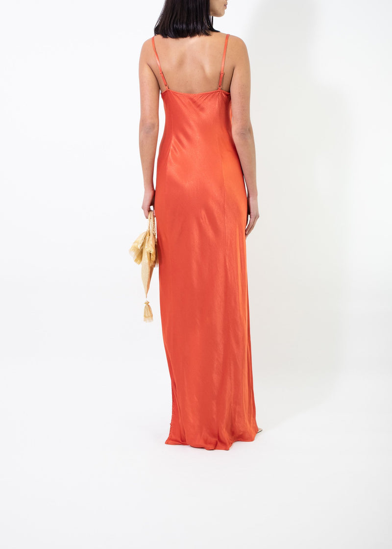 Rent Ghost Orange Cowl Neckline Satin Gown from Rotaro