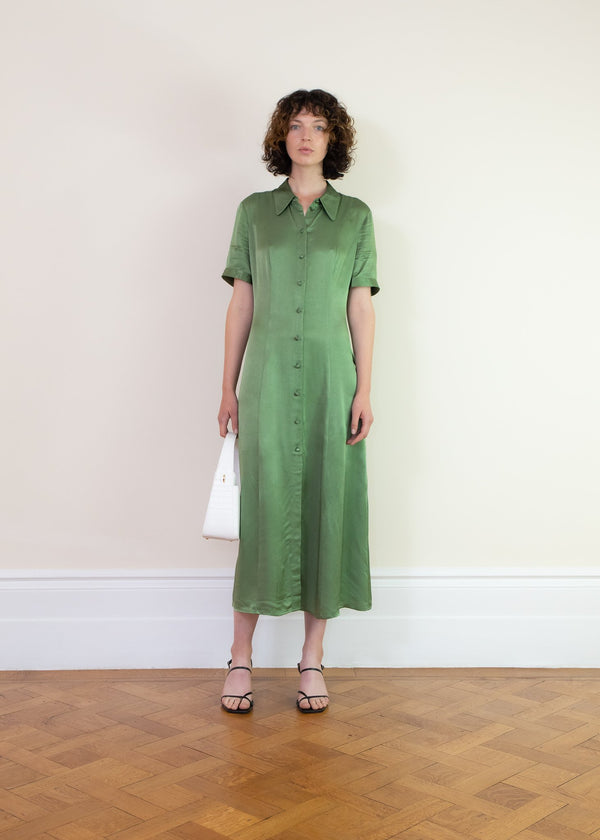 Rent Alexa Chung Apple Green Satin Shirt Dress from Rotaro