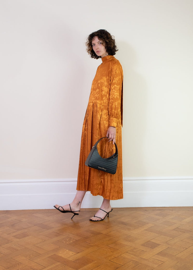 Rent Ghospell Burnt Orange Pleated Satin Midi Dress from Rotaro