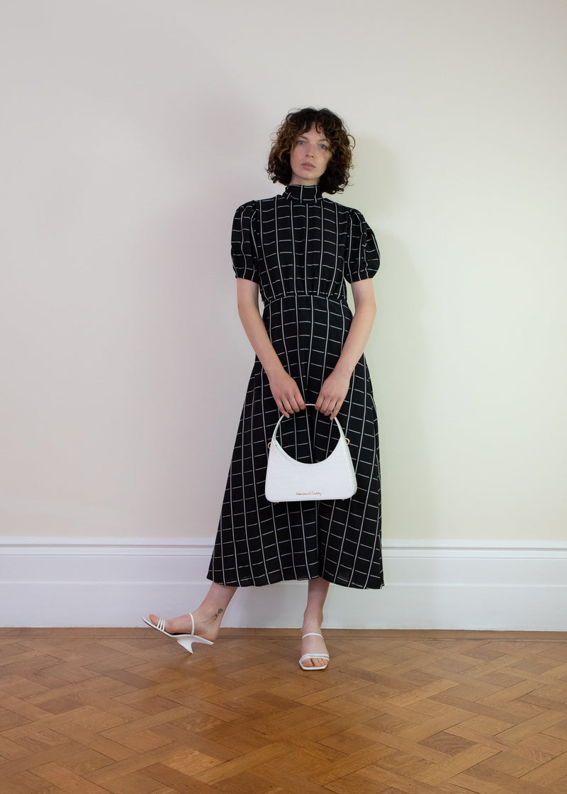 Rent Ghospell Black Check Midi Dress from Rotaro
