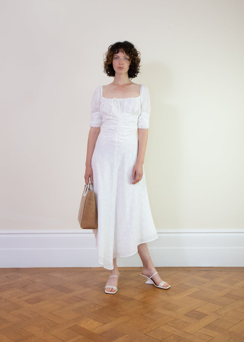 Rent Cinta The Label White Ruched Neck Midi Dress from Rotaro