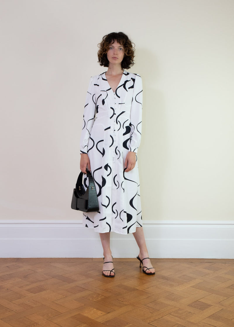 Rent House of Sunny Ripple Black and White Button Down Midi Dress from Rotaro