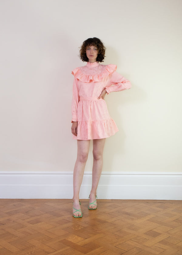 Rent Sister Jane Pink Tie Ruffle Mini Dress from Rotaro
