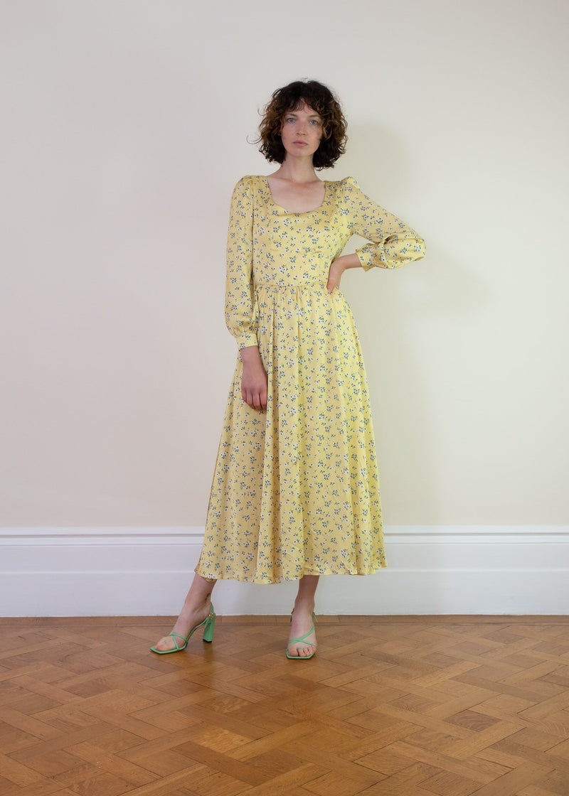 Rent Sister Jane Yellow Satin Front Tie Floral Midi Dress from Rotaro