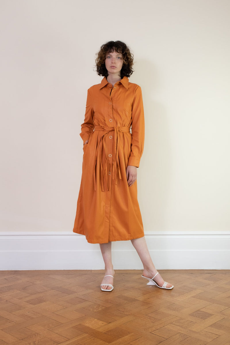 Rent House of Sunny Vegan Leather Midi Shirt Dress from Rotaro