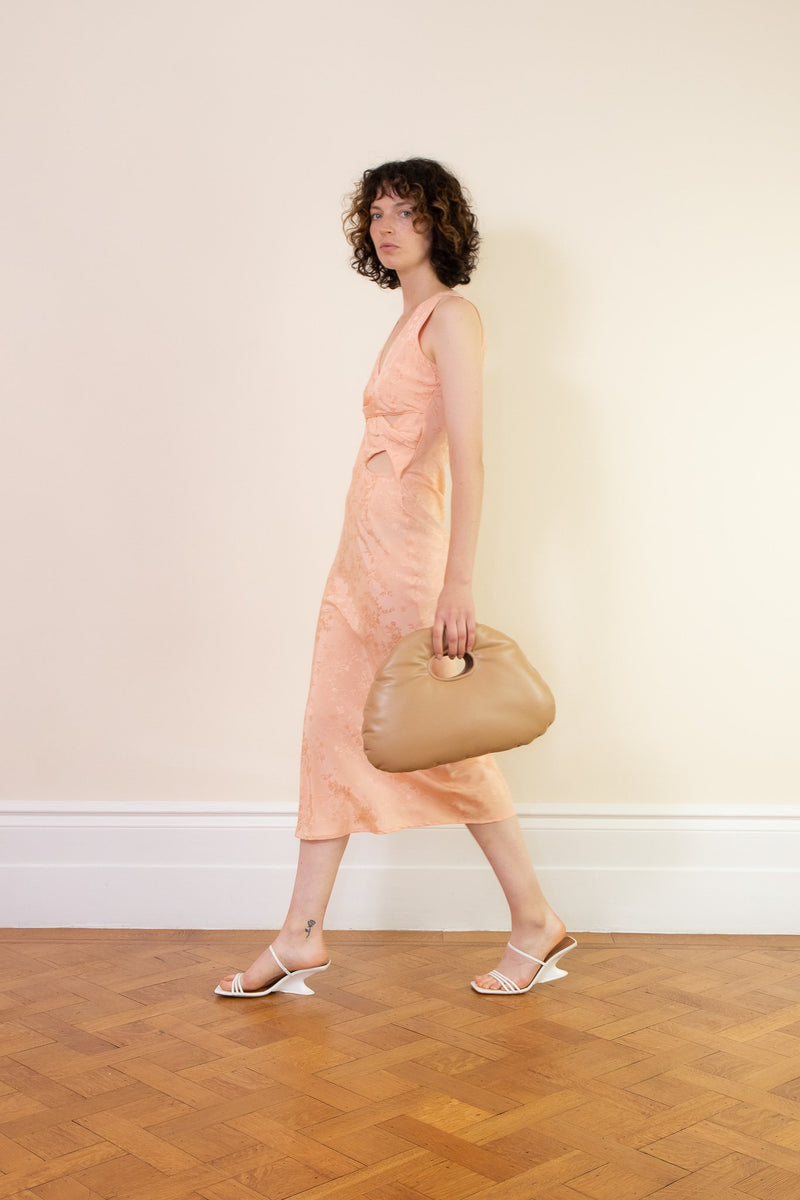 Rent The Line By K Moon Peach V Neck Midi Dress from Rotaro