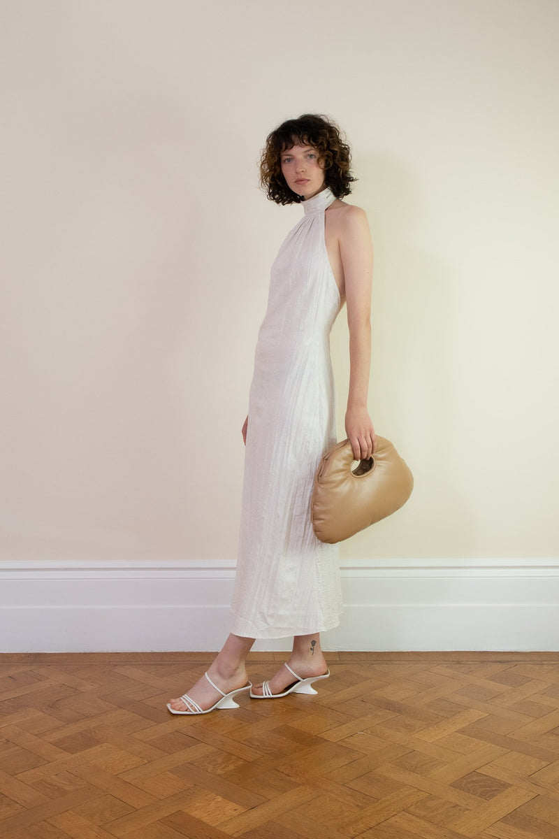 Rent The Line By K Kaito Off-White Crinkle Linen Midi Dress from Rotaro