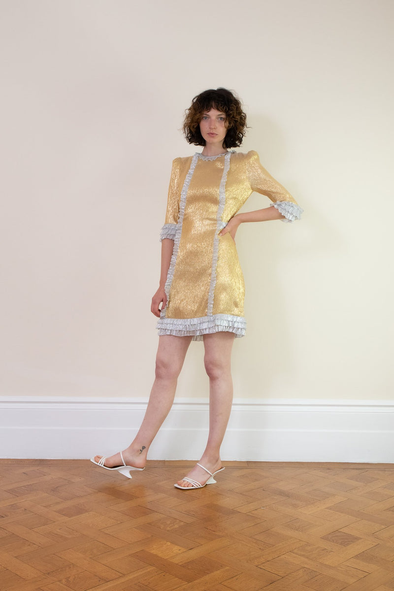 Rent The Vampires Wife Cate Metallic Gold Silk Mini Dress from Rotaro