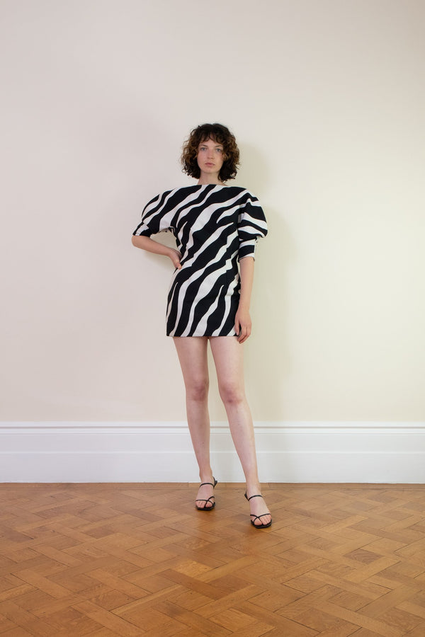 Rent Elzinga Balloon Sleeve Zebra Jacquard Mini Dress from Rotaro