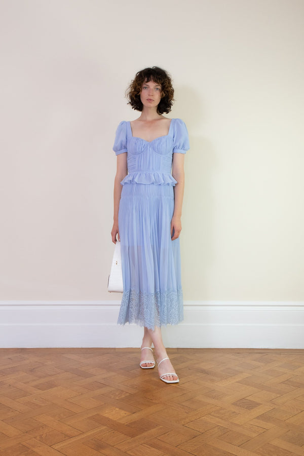 Rent Self Portrait Blue Pleated Chiffon Midi Dress from Rotaro