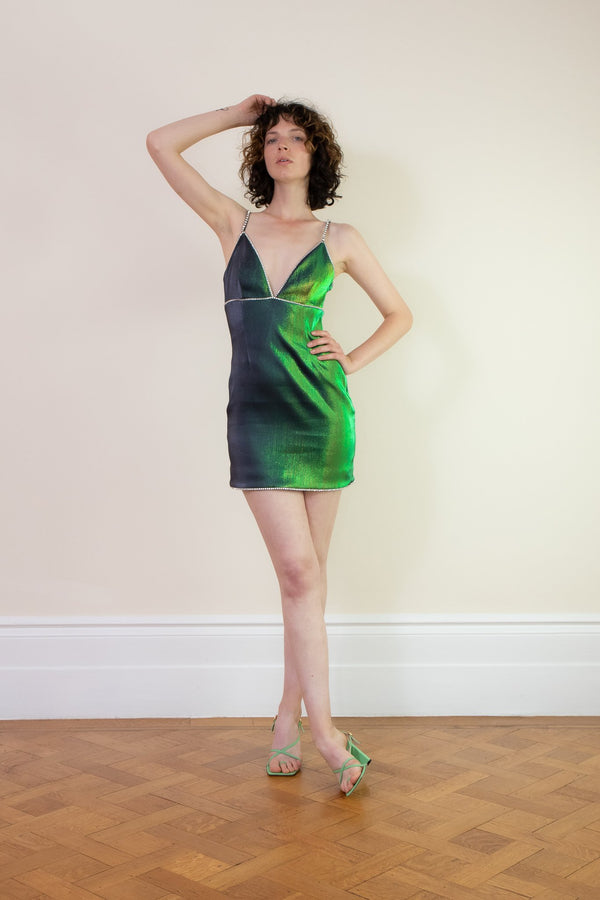 Rent Area Crystal-Embellished Beetle Green Mini Dress from Rotaro