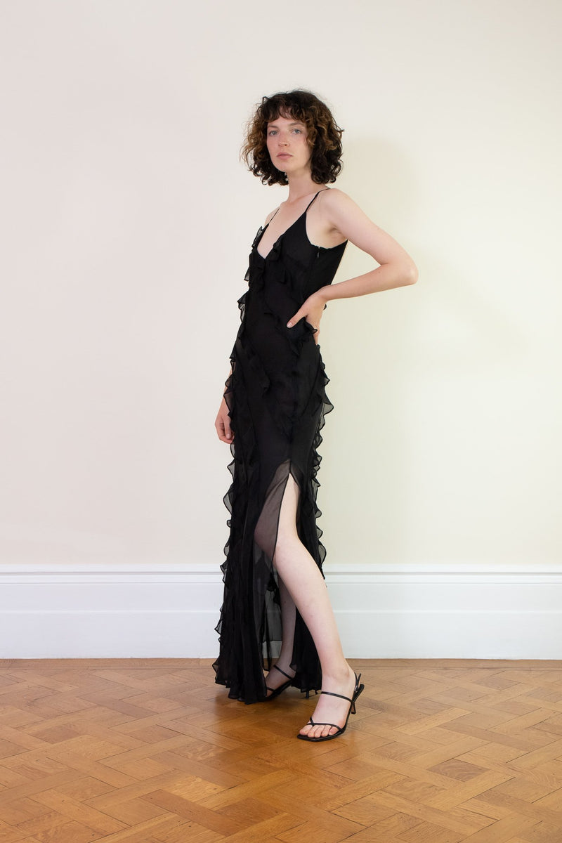 Rent Rat & Boa Selena Black Ruffle Maxi Dress from Rotaro