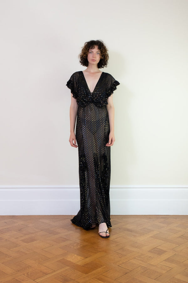 Rent Rat & Boa Giorgia Black Semi-Sheer Maxi Dress from Rotaro