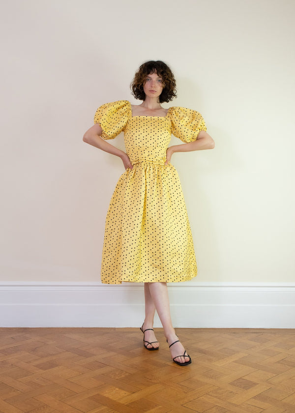 Rent Shrimps Yellow Polka-Dot Wrap Dress from Rotaro
