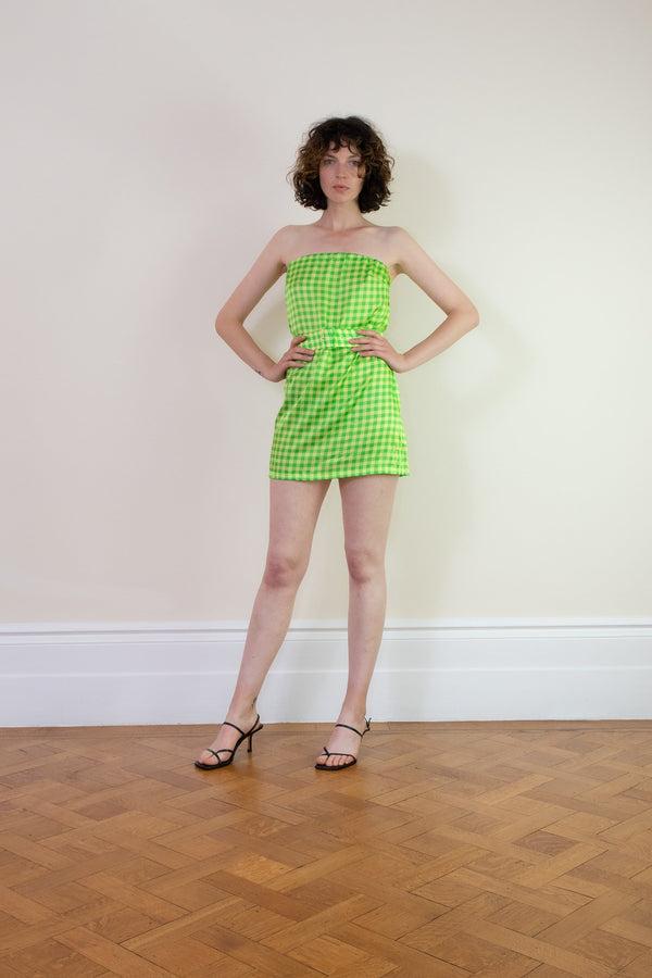 Rent BERNADETTE Belted Lime Check Mini Dress from Rotaro