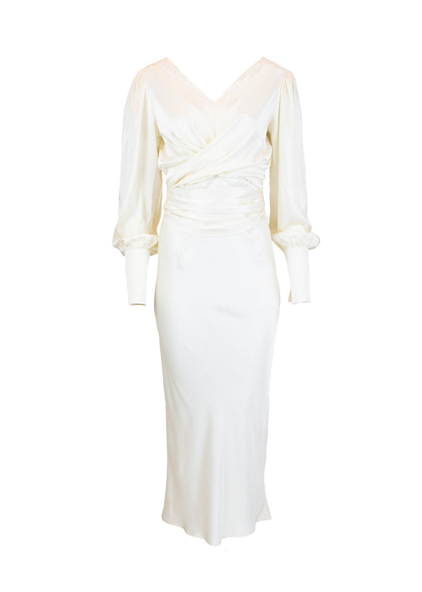 Rent The Line By K Marfa Ivory Tie Belt Satin Midi Dress from Rotaro