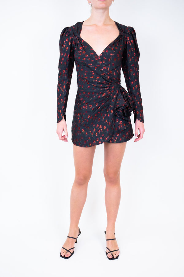 Rent Attico Black Mini Rose-Embroidered Dress from Rotaro