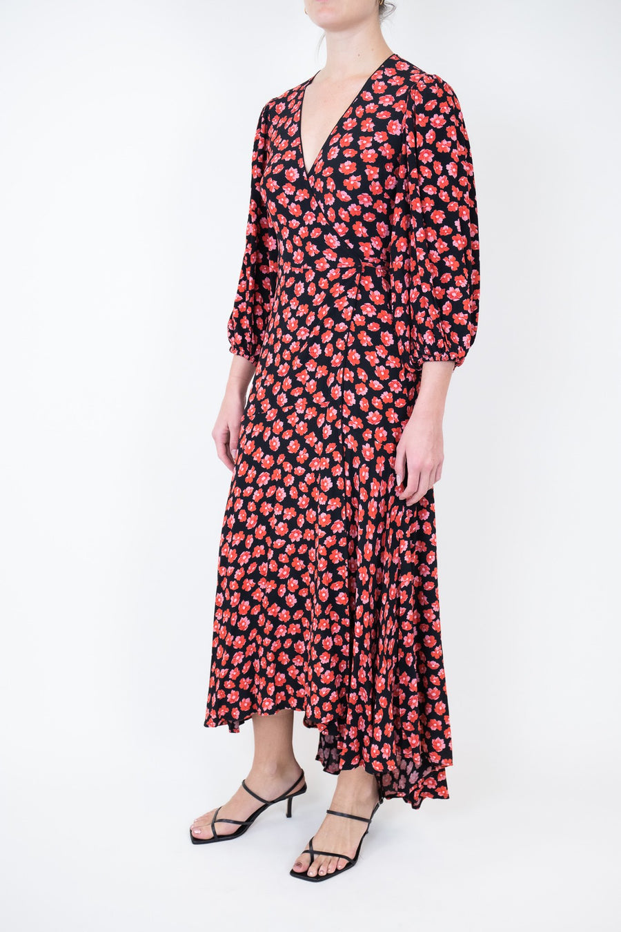 Rent GANNI Red & Black Floral Print Wrap Dress from Rotaro
