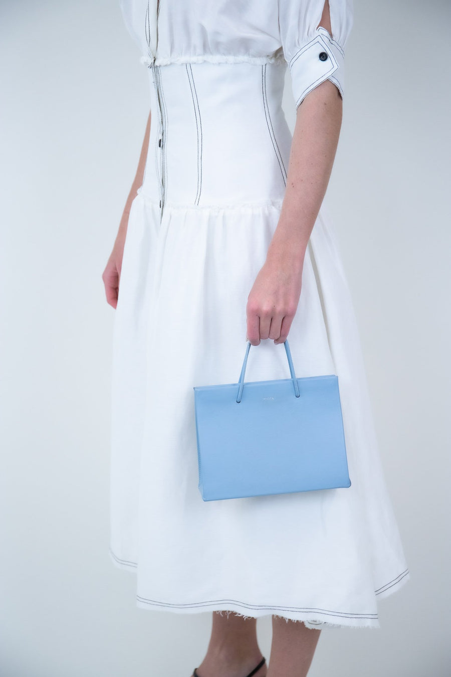 Rent MEDEA Light Blue Leather Tote Bag from Rotaro