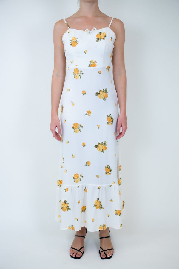 Rent Reformation White Floral Midi Dress from Rotaro