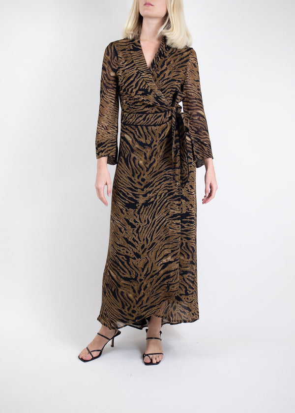 Rent GANNI Tiger Print Maxi Wrap Dress from Rotaro