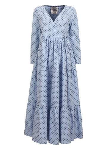 Rent Baum Und Pferdgarten Light Blue Embroidered Detail Maxi Wrap Dress from Rotaro