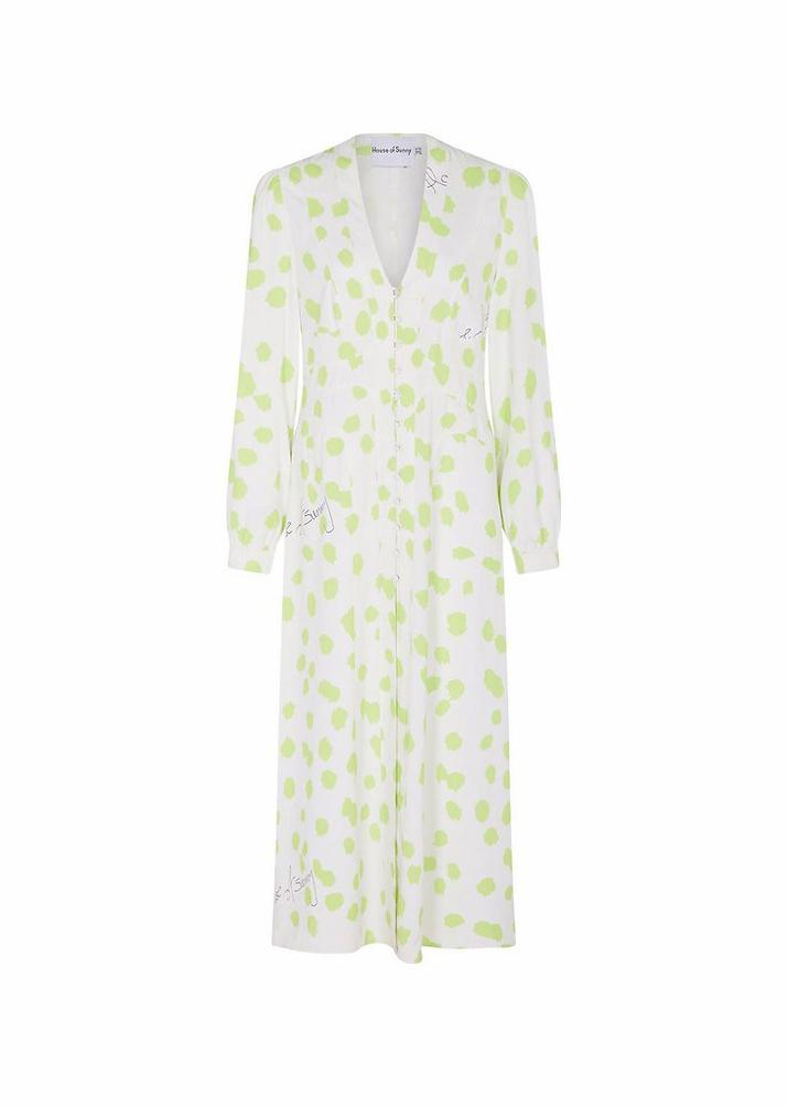 Rent House of Sunny Granita Lime and White Monogram Midi Dress from Rotaro