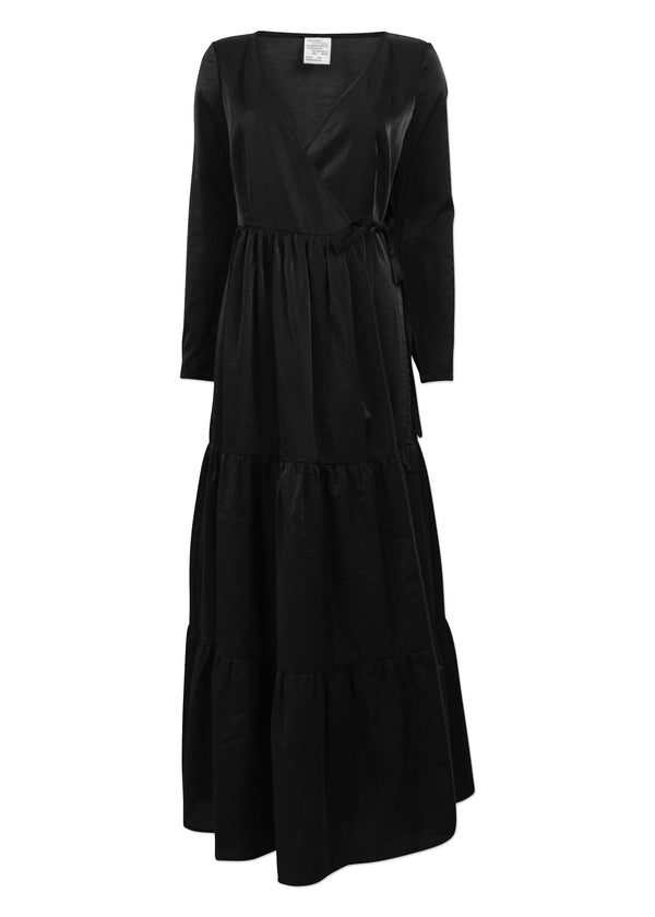 Rent Baum Und Pferdgarten Black Long Sleeve Tiered Maxi Wrap Dress from Rotaro