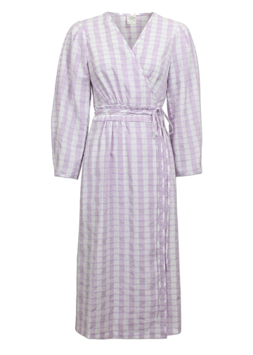 Rent Baum Und Pferdgarten Lilac Check Midi Wrap Dress from Rotaro