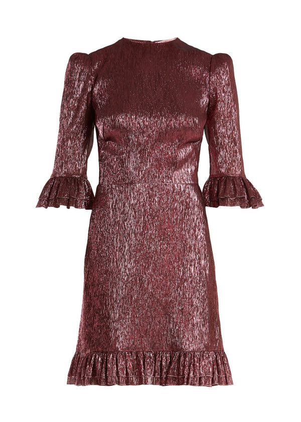 Rent The Vampires Wife Violet Ruffle Trim Lamé Silk Mini Dress from Rotaro
