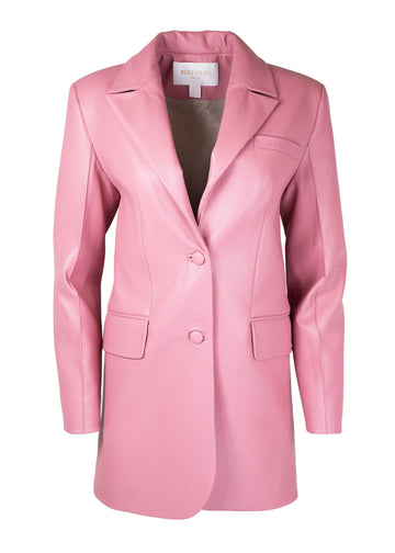 Rent Matériel Tbilisi Pink Faux Leather Buttoned Blazer from Rotaro