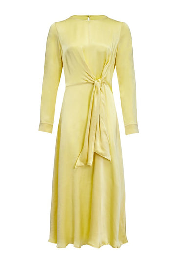 Rent Ghost Lemon Satin Long Sleeve Midi Dress from Rotaro