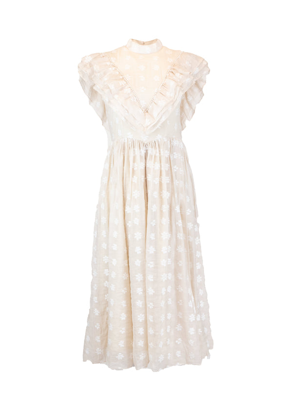 Rent Sister Jane Ivory Pearl Ruffle Midi Dress from Rotaro