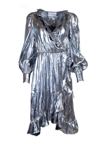 Rent Perseverance Metallic Wrap Dress from Rotaro