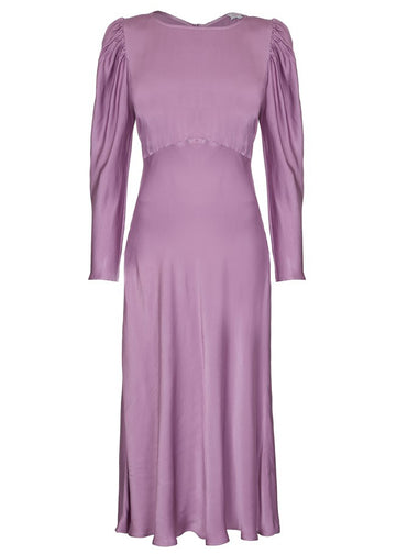 Rent Ghost Lavender Long Sleeve Satin Midi Dress from Rotaro