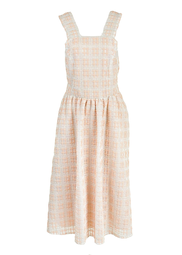 Rent Shrimps Peach Embroidered Back Tie Midi Dress from Rotaro