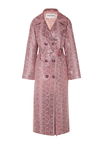 Rent Stand Studio Pink Snake Effect Vegan Leather Trench Coat from Rotaro