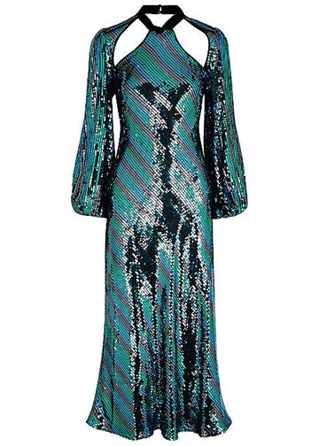 Rent RIXO Teal Striped Sequin Midi Dress from Rotaro