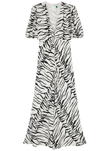 Rent RIXO Zebra Print Button Down Midi Dress from Rotaro